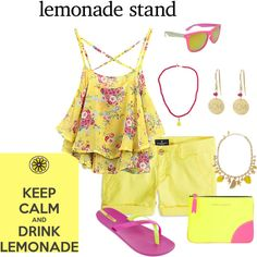 Lemonade Stand by lwilkinson on Polyvore featuring American Eagle Outfitters, IPANEMA, Kate Spade, Isabel Marant, SWG, women's clothing, women's fashion, women, female and woman