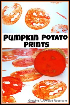 Potato printing Fall activity. Potatoes are great for carving simple stamps for printing onto kraft paper, newsprint, or tissue paper for wrapping paper during the holidays.
