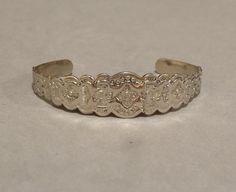 Vintage #Silver #Native #American #Cuff #Bracelet Stamped Southwest Designs Eagle Sun Bear Paw Unisex Signed