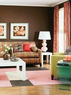 Designer Laurie Smith's Color Tip: Brown has an anchoring effect. It can calm a room that's full of color, and it holds weight in a room. It's also a less-harsh alternative to black.