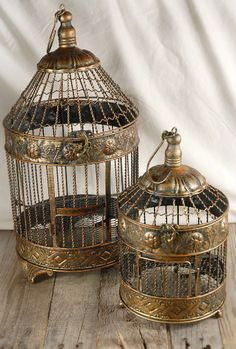 """Birdcages  Round Brass Cages (set of two) 19"""" & 13""""   $18.99, something pretty to decorate with then take home"""