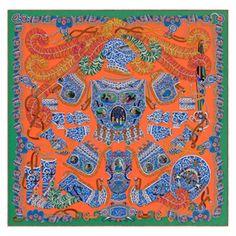 « Sous l'Égide de Mars », Carré 90x90 cm en twill de soie. Dessin : Pierre Marie. Jouez avec votre carré Hermès grâce à l'application Silk Knots ! hermes.com/silkknots #Hermes #Silk #SilkKnots