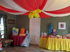 Circus tent DIY for birthday party out of tablecloths! By Two Belles & 20 DIY Carnival Theme Wedding Ideas | Carnival Tents and Illusions