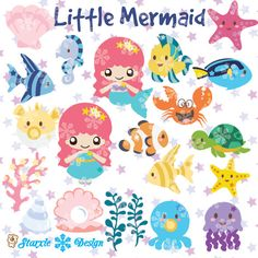 Cute chibi mermaid Clipart under the sea Clipart by StarxieDesign, $5.90
