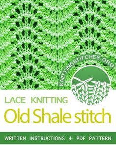 the Old Shale Stitch Pattern. Dishcloth Knitting Patterns, Knitting Stiches, Knitting Charts, Lace Knitting, Crochet Yarn, Crochet Stitches, Crochet Patterns, Quick Knits, How To Purl Knit