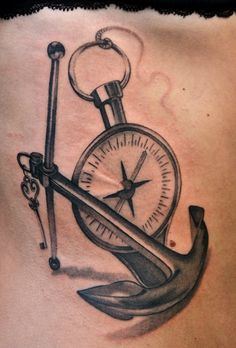 anchor and pocket watch - 40 Awesome Watch Tattoo Designs  <3 <3