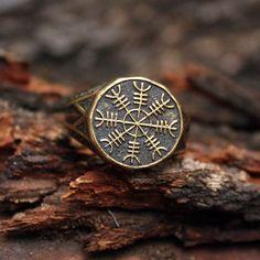 Bronze Helm of Awe Aegishjalmur Viking Amulet Icelandic Stave Runic Nordic Ring