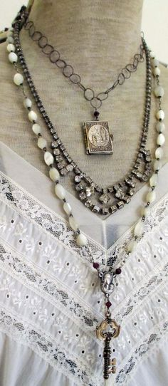 I love all of this , but not to wear, just to have! (key to lourdes  vintage assemblage necklace by TheFrenchCircus, $190.00)