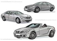 Various Mercedes Benz vehicles as vector line art by Ian David Marsden, via Flickr