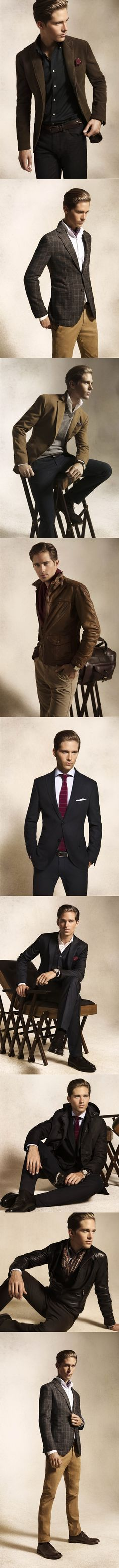 Assorted Suits, Blazers and Dress Pants, by Massimo Dutti. Men's Fall Winter Fashion.