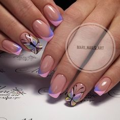 VK is the largest European social network with more than 100 million active users. French Nails, Glitter French Manicure, Nail Tip Designs, French Nail Designs, May Nails, Hair And Nails, Cute Nails, Pretty Nails, Butterfly Nail Art