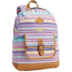 PB Teen Northfield Serape Stripe Backpack ($52) ❤ liked on Polyvore featuring bags, backpacks, water resistant backpack, zip backpack, day pack backpack, padded bag and backpack bags