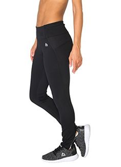 RBX Active Women's Fleece Insulated Arctic Barrier Athletic Tight Pants With Zipper Ankle Black XL