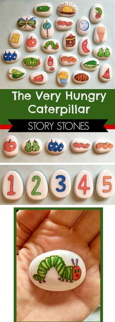 The Very Hungry Caterpillar Story Stones #hungrycaterpillar #childrensbooks #preschool #preschoolers #prek #toddler #homeschool #homeschooling #classroom #daycare #affiliate
