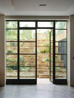 French Doors Patio, Patio Doors, Crittall Windows, Aluminium French Doors, Glass Extension, Back Doors, Windows And Doors, Steel Frame, Basement