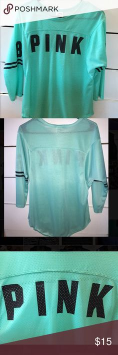 Jersey quarter sleeve top from PINK Jersey shirt from PINK . Worn twice. In GREAT condition. PINK Victoria's Secret Tops Tees - Long Sleeve