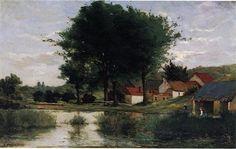 Autumn Landscape (Farm and pond) - Paul Gauguin