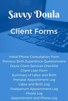 Customize these downloadable forms (except for the logs) to organize your doula paperwork.  InspiredBirthPro.com