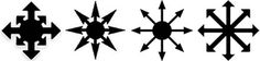 The Chaos star is a spoked device with eight equidistant arrows radiating from a central point. It was originally devised by the fantasy author Michael Moorcock as a symbol of chaos (infinite possibility), and has been adopted as a symbol of Chaos Magick. Its current rounded shape was devised by occult author and chaos magician Peter Carroll.