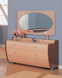 Two Toned Biege and Dark Mahogany Modern Dresser and Mirror