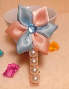 Gemstone embellished ribbon flower hair clip