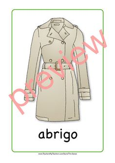 Spanish clothing flash card - coat