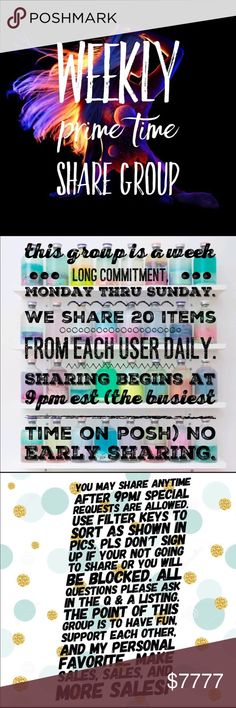 Sign ups for Share Group 2/5-2/11 NEW RULES! This group is a weekly commitment. We will share Mon-Sun. Share 20 items for each user. Sharing begins anytime after 9pm EST (the busiest time of day on Posh) NO EARLY SHARING!   SPECIAL REQUESTS ARE WELCOME! To sort, use filter keys as shown in pics.  Shares must be completed by 9pm est the following day. (If u need extra time just lmk, i completely understand life happens)  Please don't sign up if your not gonna share or u will be blocked…