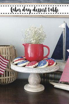 Host a nautical Labor Day BBQ with inspiration from Everyday Party Magazine. #LaborDayBBQ #NauticalParty #DessertTable