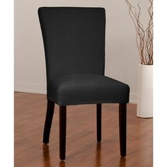 Caber SureFit Noir Montgomery Stretch Dining Chair Slipcover ($15) ❤ liked on Polyvore featuring home, furniture, chairs, dining chairs, dining chair slipcovers, slip covered dining chairs, slip covers furniture, slipcover chair and slip cover chair