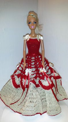 Crochet Barbie Gown, Crocheted Clothese for Barbie and Fashion Dolls by GrandmasGalleria on Etsy