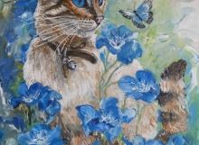 Portfolio of original paintings of Caribbean flowers, trees, birds, seascapes, marine art and cats and dogs and nudes by Antiguan artist Gilly Gobinet