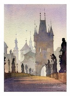 watercolor - charles bridge, Prague, Czech Republic. We were there a few years ago. Gorgeous!