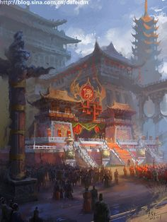 Asian fantasy art, digital illustrations and character studies. Amazing matte paintings Ambiance film Concept figure - l'empereur Xuan Zang adieu
