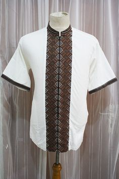 Eid Muslim Clothing Ivory Cotton Shirt Indonesian Traditional Unique Embroidery - For Men African Attire, African Wear, African Dress, African Style, African Print Fashion, Fashion Prints, Mode Shorts, Ankara Styles For Men, African Shirts