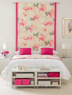via Bright Bazaar- pretty and simple. Repurpose a quilt or table cloth. Carry out the colors. Very striking.