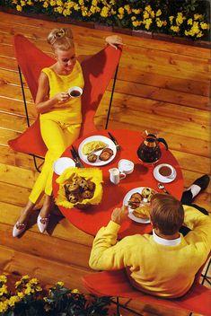 60s vintage fashion color photo print ad models magazine designer lemon bright yellow pant suit  shirt pants pencil summer