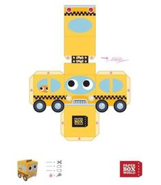 Image detail for taxi papertoy template Taxi New yorkais Construction Birthday Parties, Cars Birthday Parties, Construction Party, Diy And Crafts, Crafts For Kids, Paper Crafts, Printable Box, Paper Models, Paper Toys