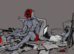 Deadpool & Spiderman - Even if they're not dating, this is cute. It's like, best bro comfort levels.