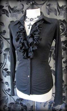 Gothic Black Fitted Sheer Net Ruffle Front Blouse 10 12 Romantic Victorian Vamp | THE WILTED ROSE GARDEN on eBay // Worldwide Shipping Available