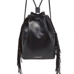VS Black Faux Leather Bag NWT Black Faux Leather bag, still in packaging! Very cute and roomy but I have no use for it! Victoria's Secret Bags