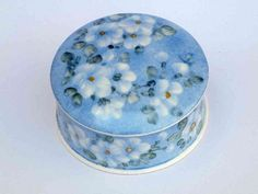 White Flowers on Blue Jewelry Box