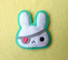 They call her pirate bunny?? cute individual goth , cyber punk kawaii pop style fashion brooch cool easter accessory or gift for teens