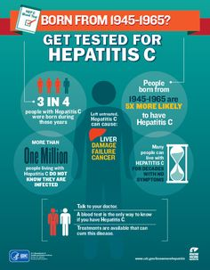 People born from 1945-1965 are five times more likely to have Hepatitis C. CDC recommends anyone born during these years get a blood  test for Hepatitis C. #HepC  #KnowHepC