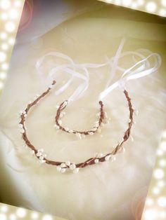 headband couronnes et bracelet de baies artificielles : Accessoires coiffure par paroles-de-fleurs