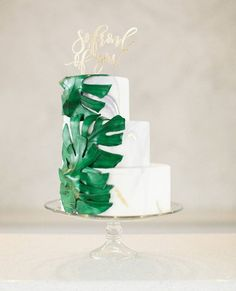 Fresh off our instagram feed: Going for a tropical vibe? You need this cake! | Photography: @rutheileenphoto | Event Planning: @cclweddings | Floral Design: @wildfloraldesigns | Cake Topper: @letterstou | Cake: @sugar_couture follow us on instagram @my-best-friends-wedding  See more unique wedding photos & ideas + shop the looks at: www.my-best-friends-wedding.com  Photo cred: stylemepretty
