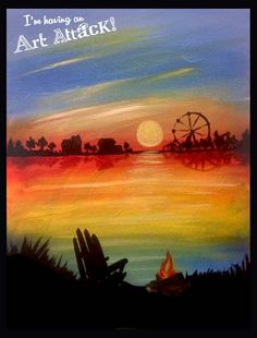 Sunset at the fair.  Art Attack! Paint Party original painting.