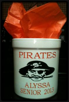 Wheelersburg Pirate crock...can be personalized...