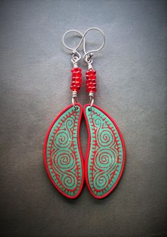 Silk screened polymer clay earrings by Shelley Atwood
