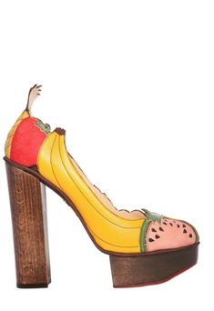 CHARLOTTE OLYMPIA LONDON Suede & Leather Fruit Covered Pumps - Lyst