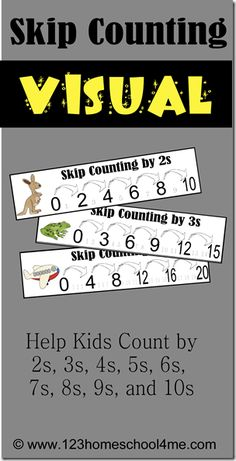 Skip counting is the first step in teaching kids multiplication. Kids who know their skip counting quickly and effortlessly, will have a smoother transition into multiplication. 123 Homeschool 4 Me has a FREE Skip Counting Visual Printable. Math For Kids, Fun Math, Math Activities, Skip Counting Activities, Maths, Math Games, Counting By 2, Multiplication Worksheets, Number Worksheets